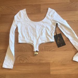 UNIF small white suspender crop top